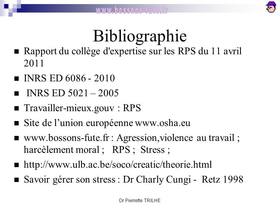 Dr Pierrette TRILHE Bibliographie Rapport du collège d'expertise sur les RPS du 11 avril 2011 INRS ED 6086 - 2010 INRS ED 5021 – 2005 Travailler-mieux
