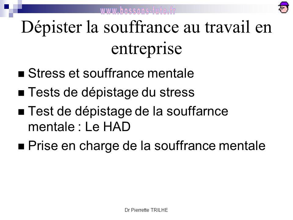 Dr Pierrette TRILHE Dépister la souffrance au travail en entreprise Stress et souffrance mentale Tests de dépistage du stress Test de dépistage de la