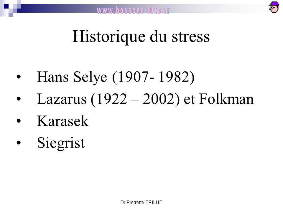 Dr Pierrette TRILHE Historique du stress Hans Selye (1907- 1982) Lazarus (1922 – 2002) et Folkman Karasek Siegrist