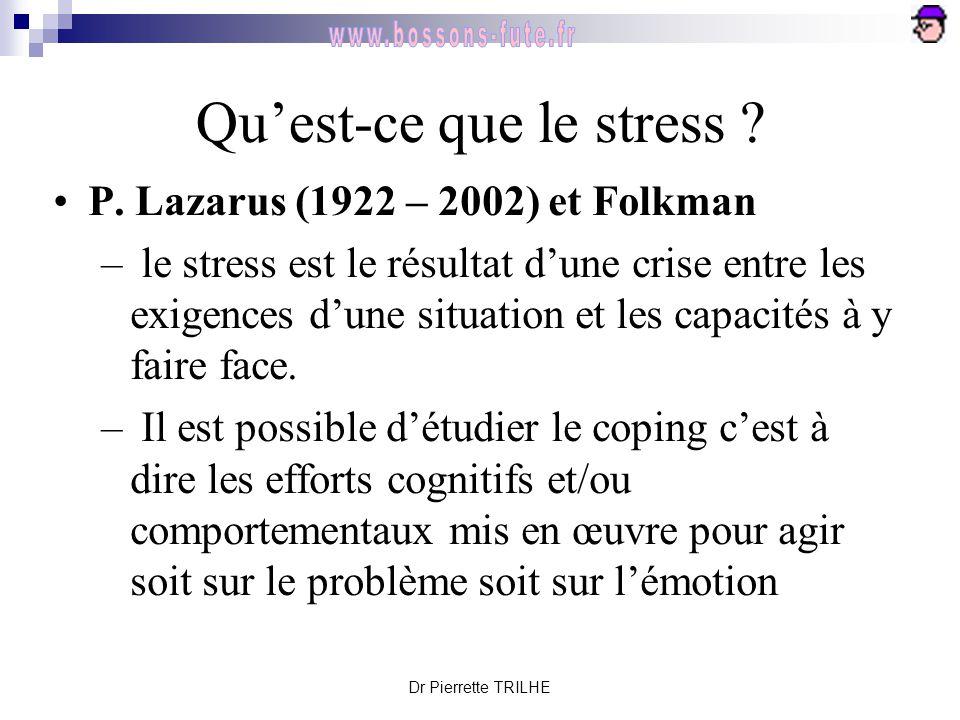 Dr Pierrette TRILHE Qu'est-ce que le stress ? P. Lazarus (1922 – 2002) et Folkman – le stress est le résultat d'une crise entre les exigences d'une si