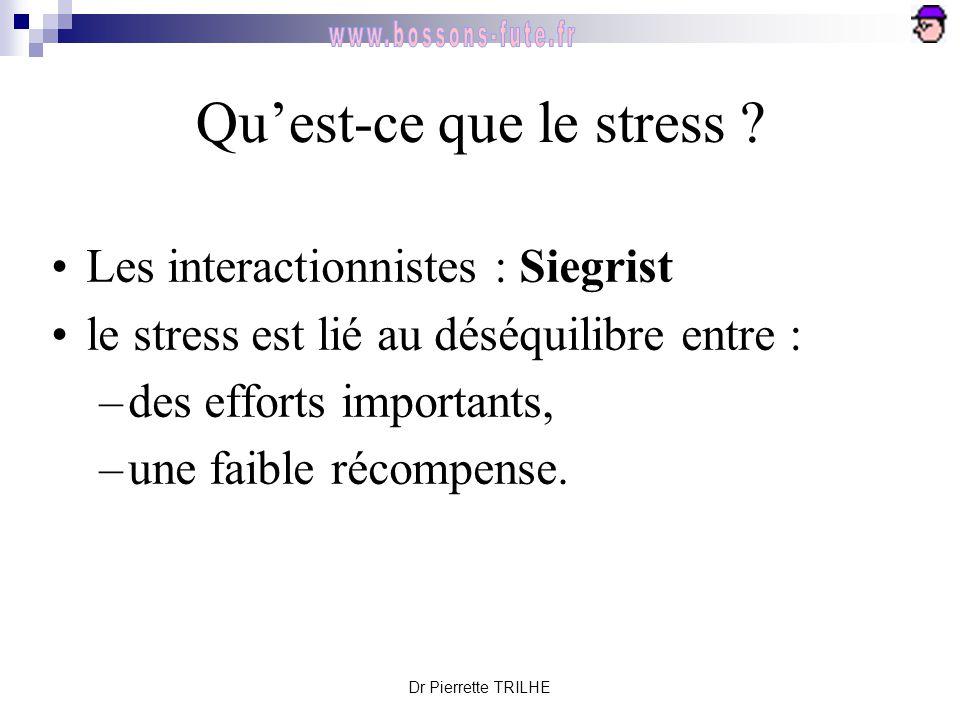 Dr Pierrette TRILHE Qu'est-ce que le stress ? Les interactionnistes : Siegrist le stress est lié au déséquilibre entre : –des efforts importants, –une