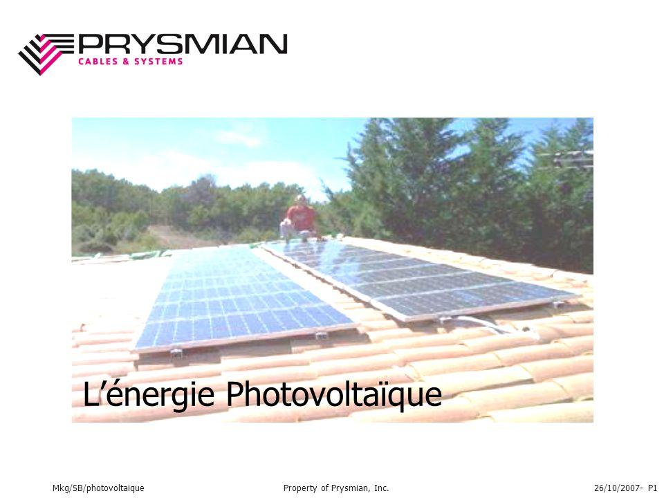 Mkg/SB/photovoltaiqueProperty of Prysmian, Inc.26/10/2007- P1 L'énergie Photovoltaïque