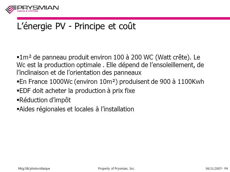 Mkg/SB/photovoltaiqueProperty of Prysmian, Inc.06/11/2007- P4 L'énergie PV - Principe et coût  1m² de panneau produit environ 100 à 200 WC (Watt crête).