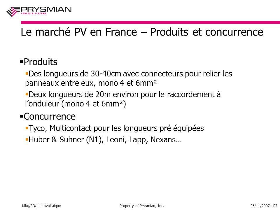 Mkg/SB/photovoltaiqueProperty of Prysmian, Inc.06/11/2007- P7 Le marché PV en France – Produits et concurrence  Produits  Des longueurs de 30-40cm avec connecteurs pour relier les panneaux entre eux, mono 4 et 6mm²  Deux longueurs de 20m environ pour le raccordement à l'onduleur (mono 4 et 6mm²)  Concurrence  Tyco, Multicontact pour les longueurs pré équipées  Huber & Suhner (N1), Leoni, Lapp, Nexans…