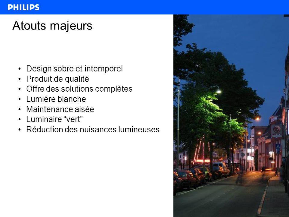 3 Atouts majeurs Design sobre et intemporel Produit de qualité Offre des solutions complètes Lumière blanche Maintenance aisée Luminaire vert Réduction des nuisances lumineuses