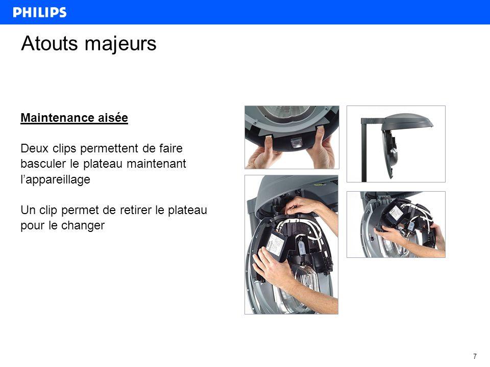 7 Atouts majeurs Maintenance aisée Deux clips permettent de faire basculer le plateau maintenant l'appareillage Un clip permet de retirer le plateau pour le changer