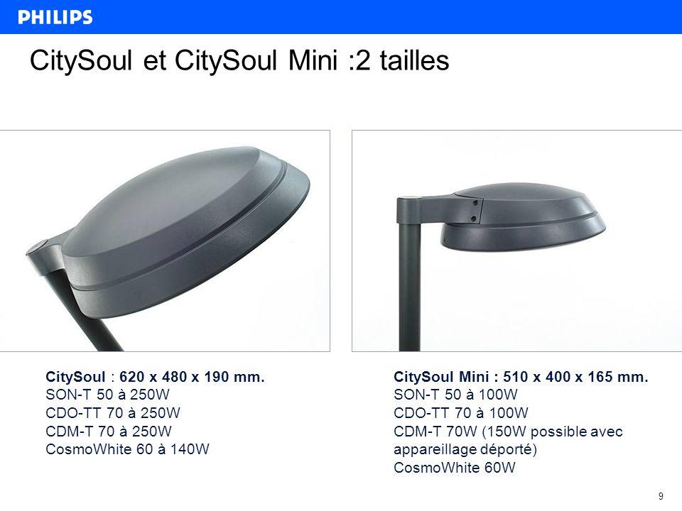 9 CitySoul et CitySoul Mini :2 tailles CitySoul : 620 x 480 x 190 mm.