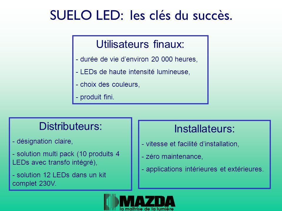 SUELO LED: les clés du succès. Utilisateurs finaux: - durée de vie d'environ 20 000 heures, - LEDs de haute intensité lumineuse, - choix des couleurs,