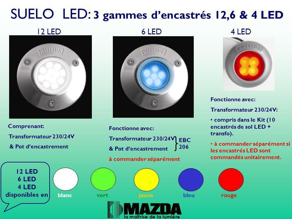 SUELO LED: 3 gammes d'encastrés 12,6 & 4 LED 12 LED 6 LED 4 LED Comprenant: Transformateur 230/24V & Pot d'encastrement Fonctionne avec: Transformateu
