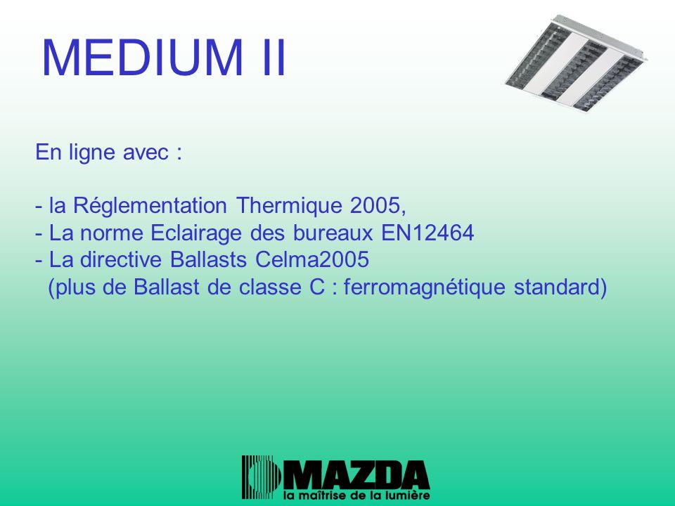 En ligne avec : - la Réglementation Thermique 2005, - La norme Eclairage des bureaux EN12464 - La directive Ballasts Celma2005 (plus de Ballast de cla