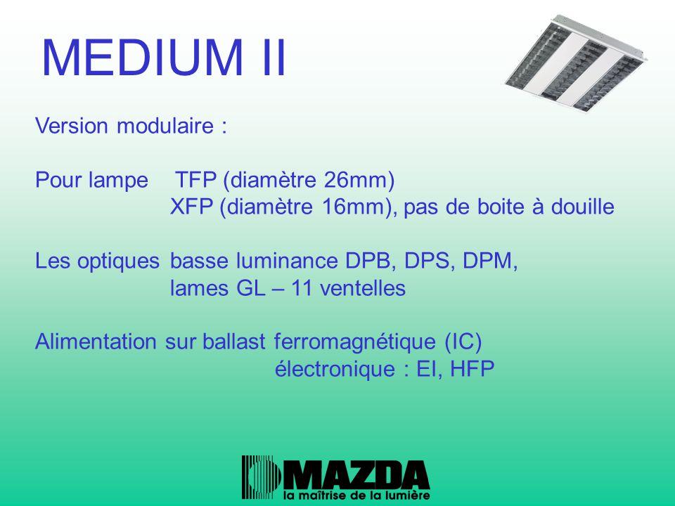 Version asymétrique Pour lampe TFP (diamètre 26mm) XFP (diamètre 16mm), pas de boite à douille Possibilité de positionner 2 appareils en continu Alimentation sur ballast ferromagnétique (IC) électronique : EI, HFP MEDIUM II