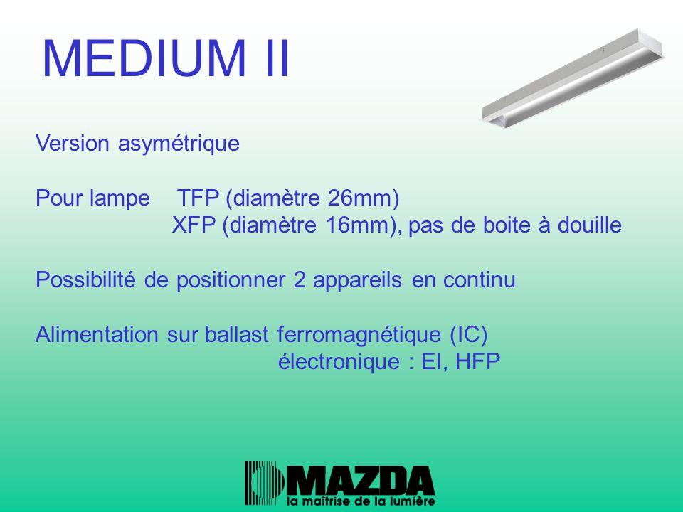 Version asymétrique Pour lampe TFP (diamètre 26mm) XFP (diamètre 16mm), pas de boite à douille Possibilité de positionner 2 appareils en continu Alime