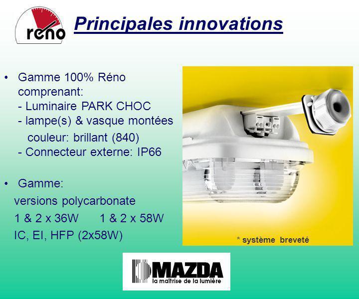 Gamme 100% Réno comprenant: - Luminaire PARK CHOC - lampe(s) & vasque montées couleur: brillant (840) - Connecteur externe: IP66 Gamme: versions polyc