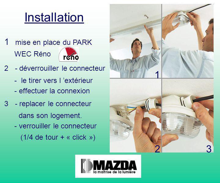1 Installation 1 mise en place du PARK WEC Réno 2 - déverrouiller le connecteur - le tirer vers l 'extérieur - effectuer la connexion 3 - replacer le