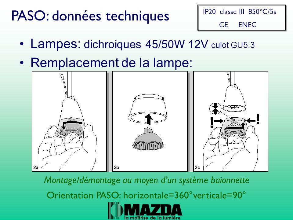 Lampes: dichroiques 45/50W 12V culot GU5.3 Remplacement de la lampe: PASO: données techniques Montage/démontage au moyen d'un système baionnette Orientation PASO: horizontale=360°verticale=90° IP20 classe III 850°C/5s CE ENEC