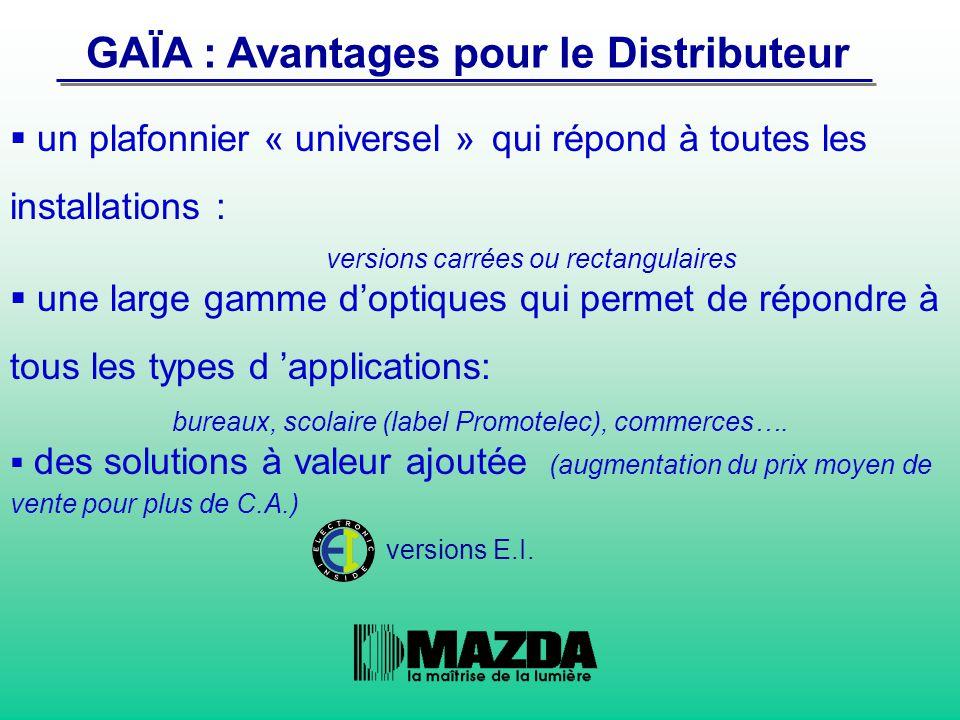 GAÏA : Avantages pour le Distributeur  un plafonnier « universel » qui répond à toutes les installations : versions carrées ou rectangulaires  une l