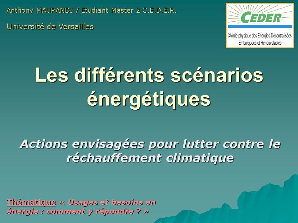 Les différents scénarios énergétiques Actions envisagées pour lutter contre le réchauffement climatique Anthony MAURANDI / Etudiant Master 2 C.E.D.E.R