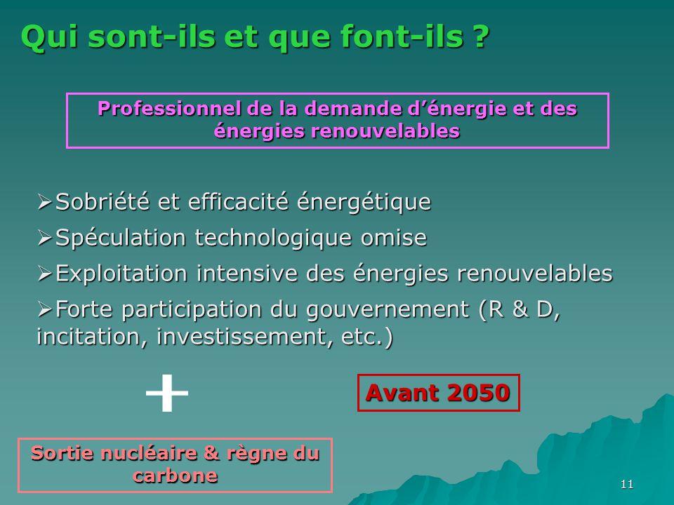 11 Qui sont-ils et que font-ils ? Professionnel de la demande d'énergie et des énergies renouvelables  Sobriété et efficacité énergétique  Spéculati