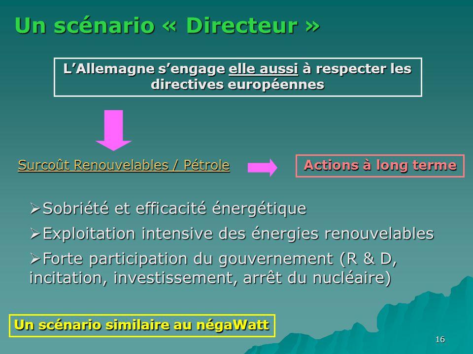 16 Un scénario « Directeur » Un scénario similaire au négaWatt L'Allemagne s'engage elle aussi à respecter les directives européennes Surcoût Renouvel