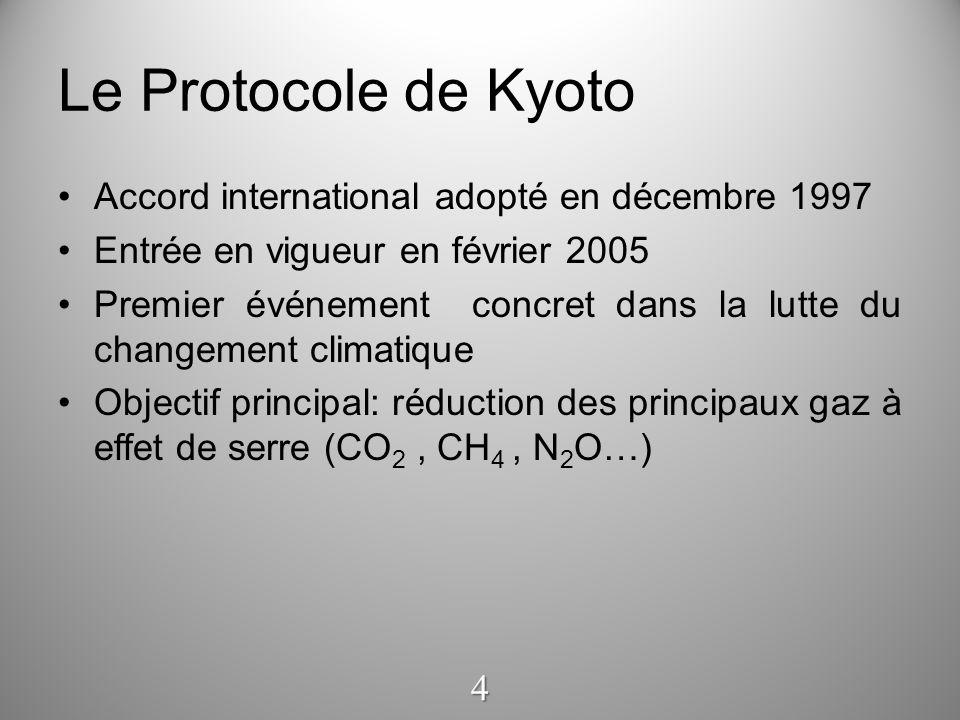 Le Protocole de Kyoto Accord international adopté en décembre 1997 Entrée en vigueur en février 2005 Premier événement concret dans la lutte du change