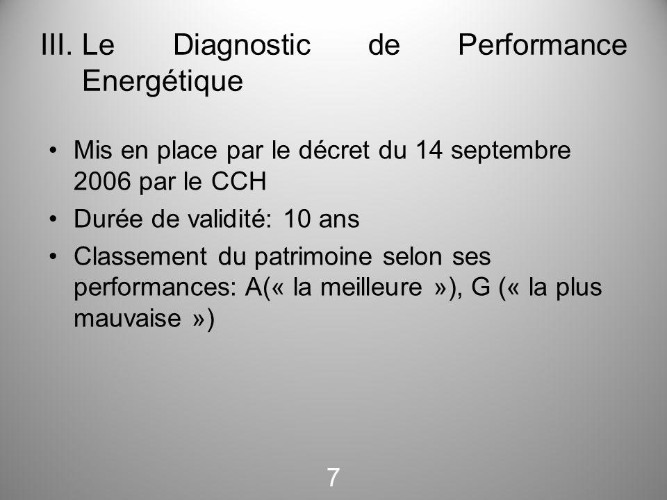 III.Le Diagnostic de Performance Energétique Mis en place par le décret du 14 septembre 2006 par le CCH Durée de validité: 10 ans Classement du patrim