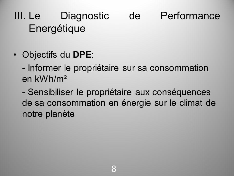 III.Le Diagnostic de Performance Energétique Objectifs du DPE: - Informer le propriétaire sur sa consommation en kWh/m² - Sensibiliser le propriétaire