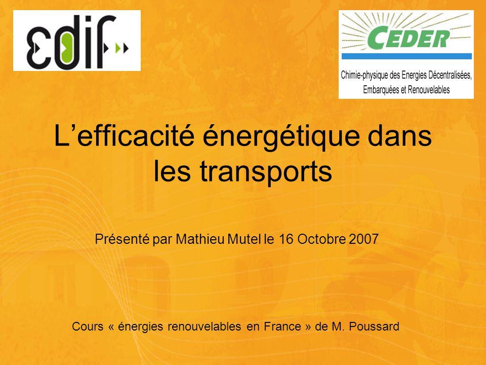 L'efficacité énergétique dans les transports Cours « énergies renouvelables en France » de M.
