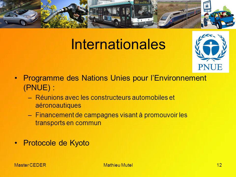 Master CEDERMathieu Mutel12 Internationales Programme des Nations Unies pour l'Environnement (PNUE) : –Réunions avec les constructeurs automobiles et aéronoautiques –Financement de campagnes visant à promouvoir les transports en commun Protocole de Kyoto