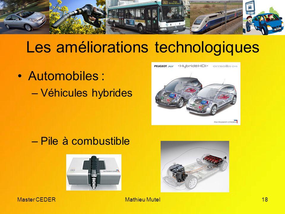 Master CEDERMathieu Mutel18 Les améliorations technologiques Automobiles : –Véhicules hybrides –Pile à combustible