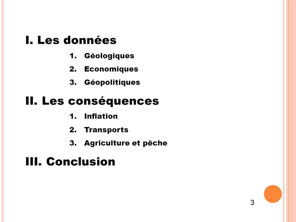 I. Les données 1.Géologiques 2.Economiques 3.Géopolitiques II. Les conséquences 1.Inflation 2.Transports 3.Agriculture et pêche III. Conclusion 3