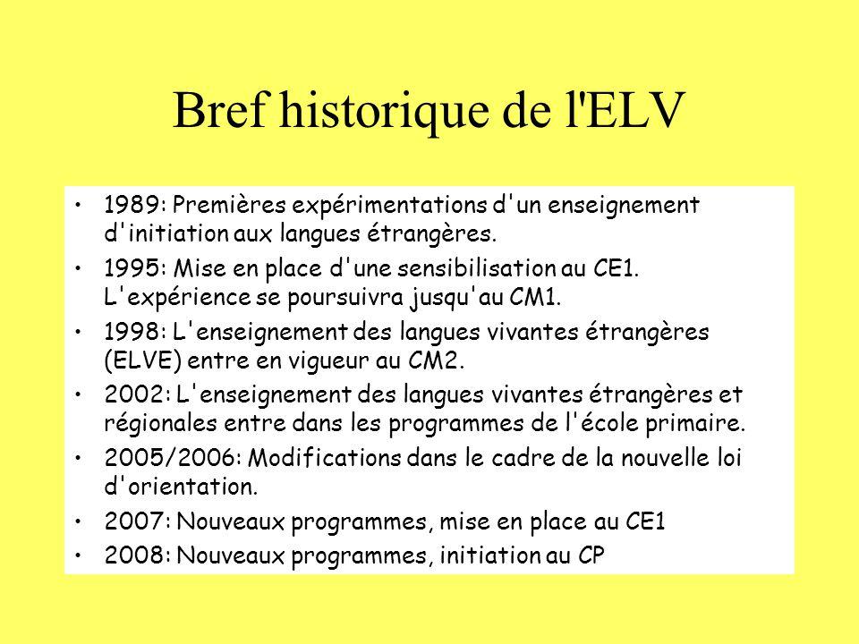 Bref historique de l ELV 1989: Premières expérimentations d un enseignement d initiation aux langues étrangères.