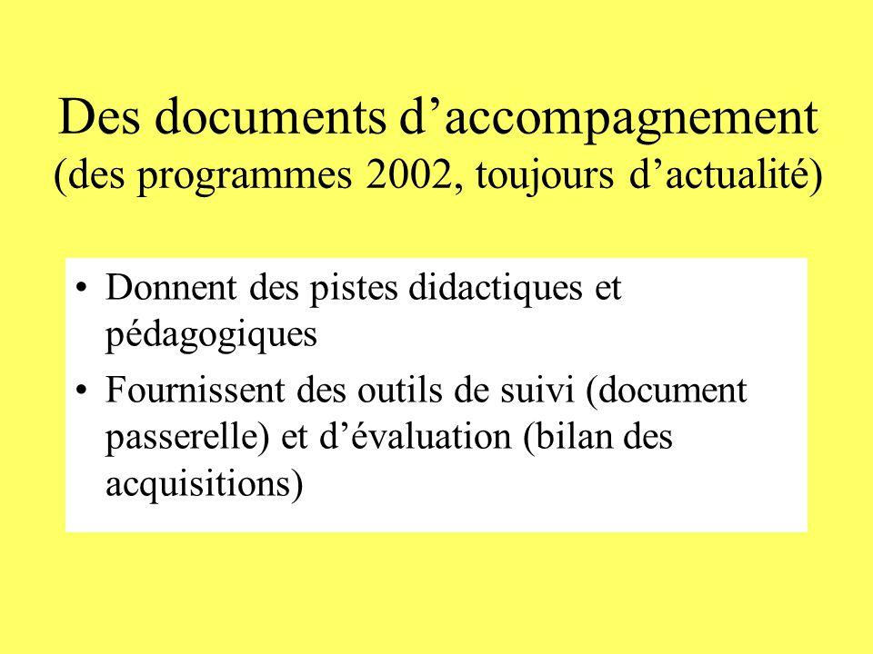 Des documents d'accompagnement (des programmes 2002, toujours d'actualité) Donnent des pistes didactiques et pédagogiques Fournissent des outils de suivi (document passerelle) et d'évaluation (bilan des acquisitions)
