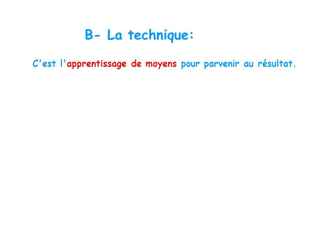 B- La technique: C'est l'apprentissage de moyens pour parvenir au résultat.