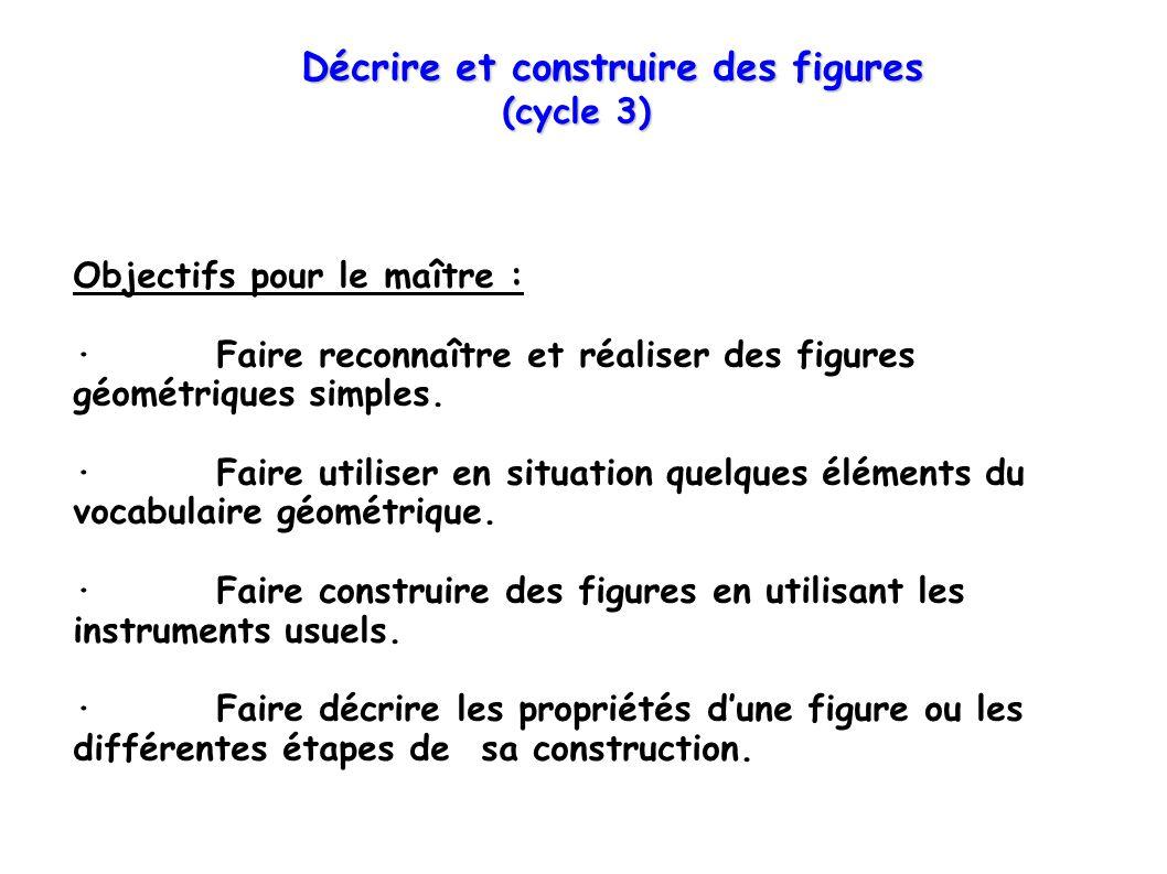 Décrire et construire des figures (cycle 3) (cycle 3) Objectifs pour le maître : · Faire reconnaître et réaliser des figures géométriques simples. · F