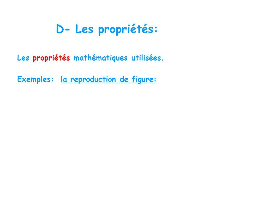 D- Les propriétés: Les propriétés mathématiques utilisées. Exemples: la reproduction de figure: