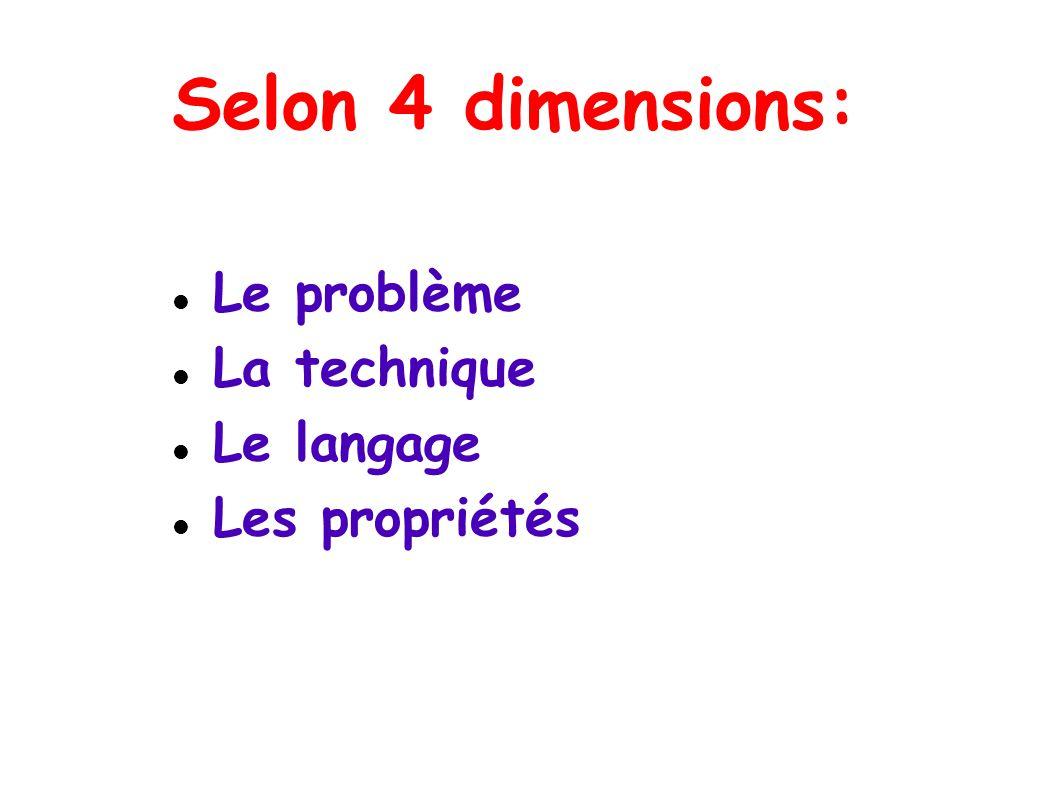 Selon 4 dimensions: Le problème La technique Le langage Les propriétés
