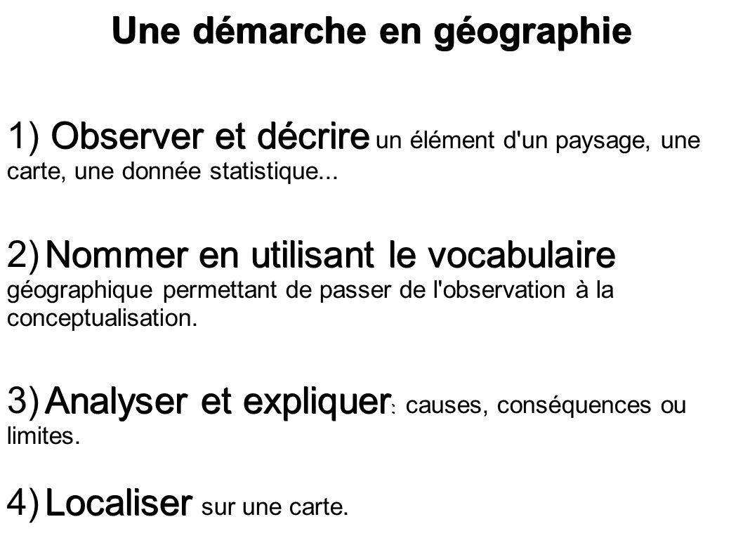 Une démarche en géographie Observer et décrire 1) Observer et décrire un élément d'un paysage, une carte, une donnée statistique... Nommer en utilisan