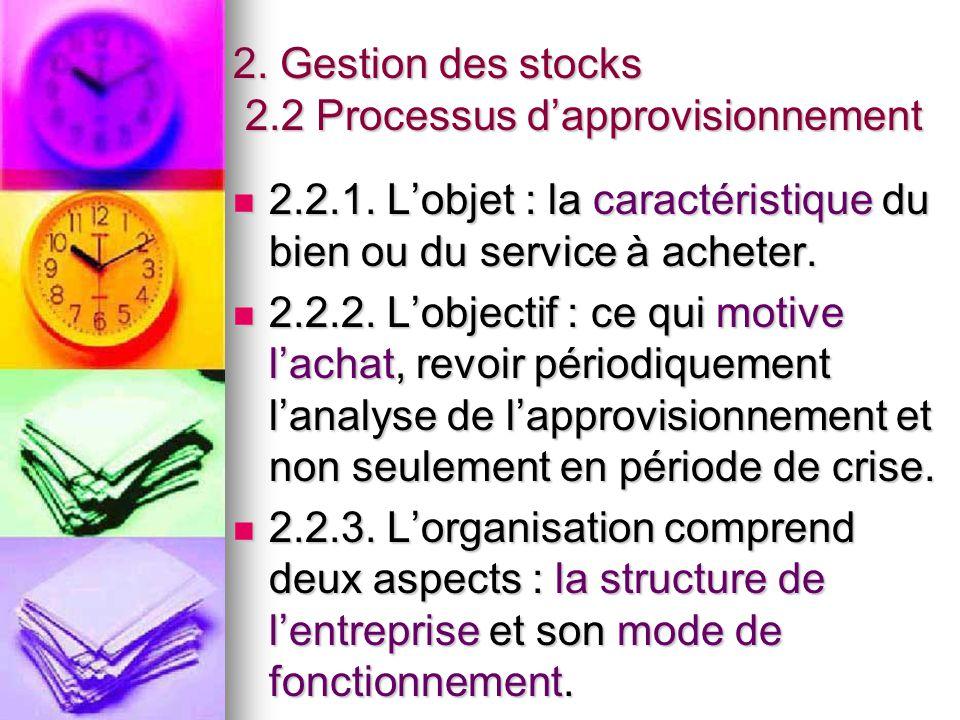 2. Gestion des stocks 2.2 Processus d'approvisionnement 2.2.1. L'objet : la caractéristique du bien ou du service à acheter. 2.2.1. L'objet : la carac