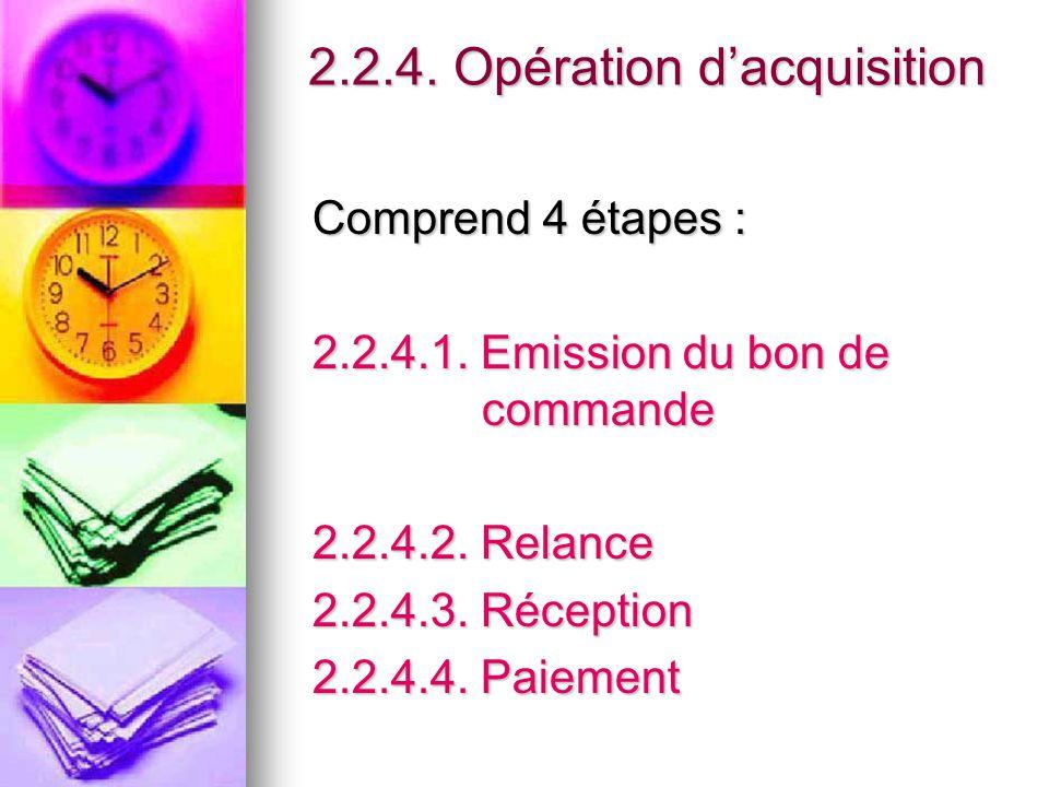 2.2.4. Opération d'acquisition Comprend 4 étapes : 2.2.4.1. Emission du bon de commande 2.2.4.2. Relance 2.2.4.3. Réception 2.2.4.4. Paiement