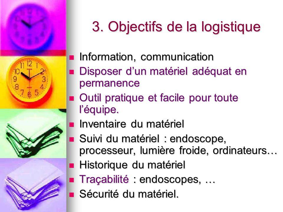 3. Objectifs de la logistique 3. Objectifs de la logistique Information, communication Information, communication Disposer d'un matériel adéquat en pe