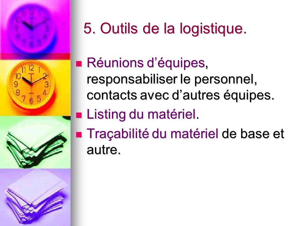 5. Outils de la logistique. Réunions d'équipes, responsabiliser le personnel, contacts avec d'autres équipes. Réunions d'équipes, responsabiliser le p