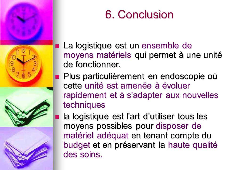 6. Conclusion La logistique est un ensemble de moyens matériels qui permet à une unité de fonctionner. La logistique est un ensemble de moyens matérie