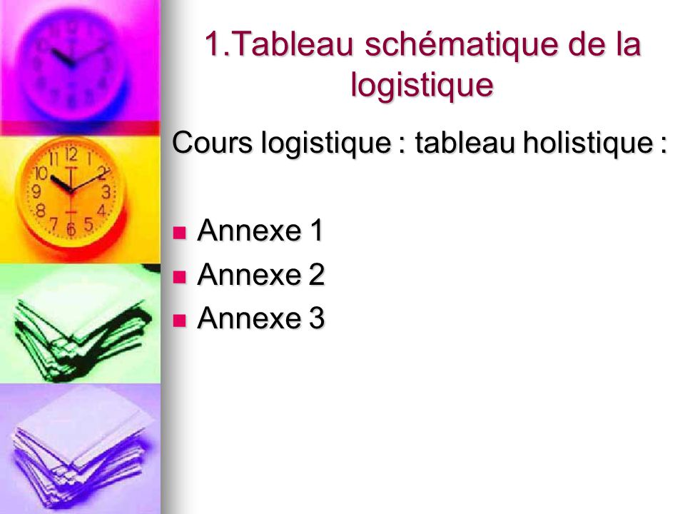 1.Tableau schématique de la logistique Cours logistique : tableau holistique : Annexe 1 Annexe 1 Annexe 2 Annexe 2 Annexe 3 Annexe 3