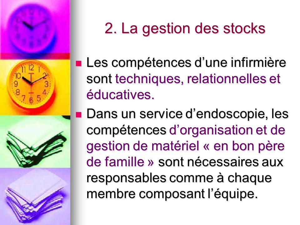 2. La gestion des stocks Les compétences d'une infirmière sont techniques, relationnelles et éducatives. Les compétences d'une infirmière sont techniq