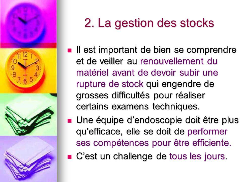 2. La gestion des stocks Il est important de bien se comprendre et de veiller au renouvellement du matériel avant de devoir subir une rupture de stock