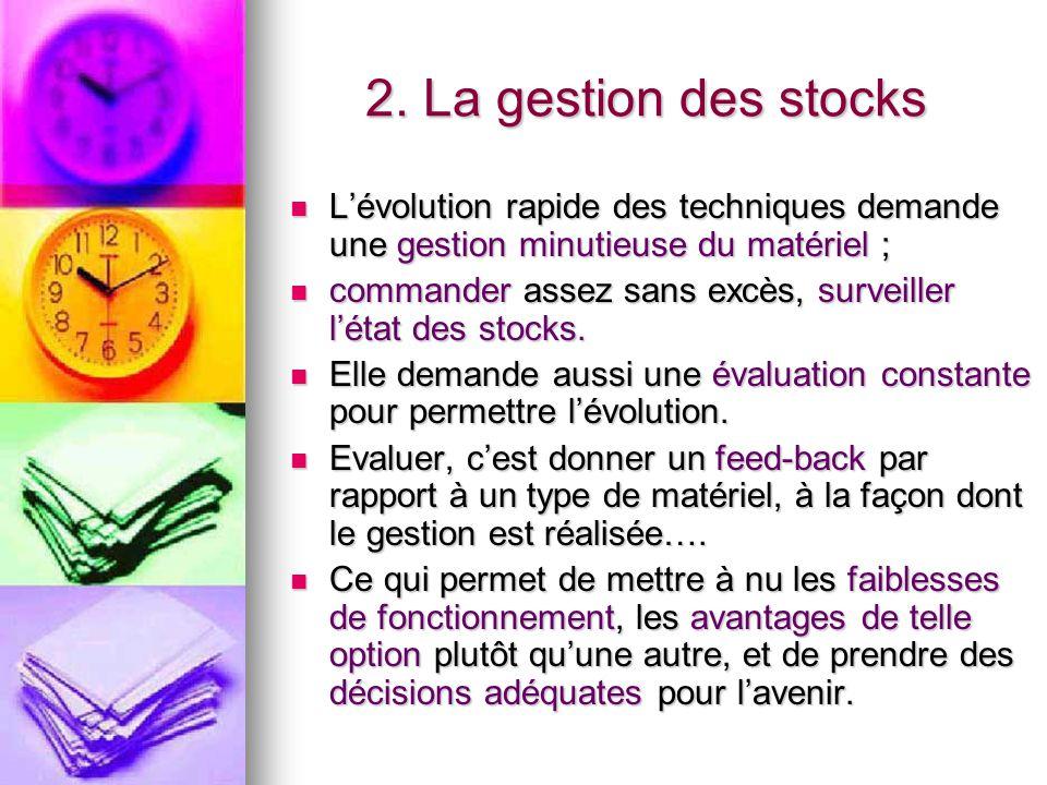 2. La gestion des stocks L'évolution rapide des techniques demande une gestion minutieuse du matériel ; L'évolution rapide des techniques demande une