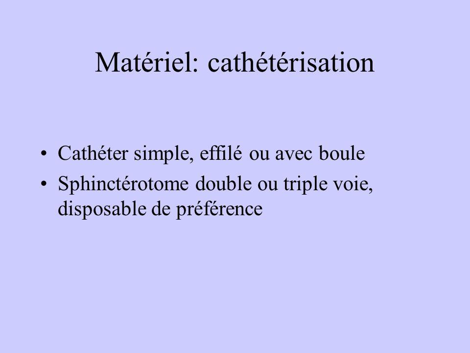 Matériel: cathétérisation Cathéter simple, effilé ou avec boule Sphinctérotome double ou triple voie, disposable de préférence