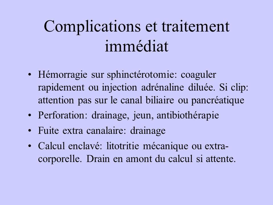 Complications et traitement immédiat Hémorragie sur sphinctérotomie: coaguler rapidement ou injection adrénaline diluée. Si clip: attention pas sur le