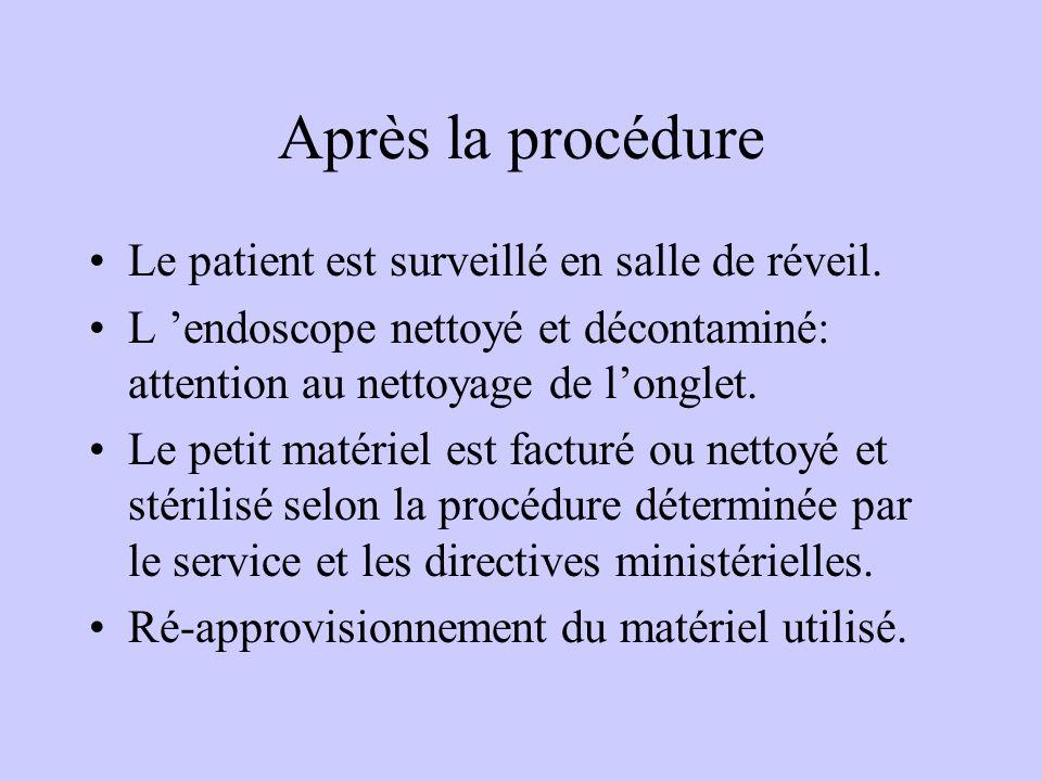 Après la procédure Le patient est surveillé en salle de réveil. L 'endoscope nettoyé et décontaminé: attention au nettoyage de l'onglet. Le petit maté