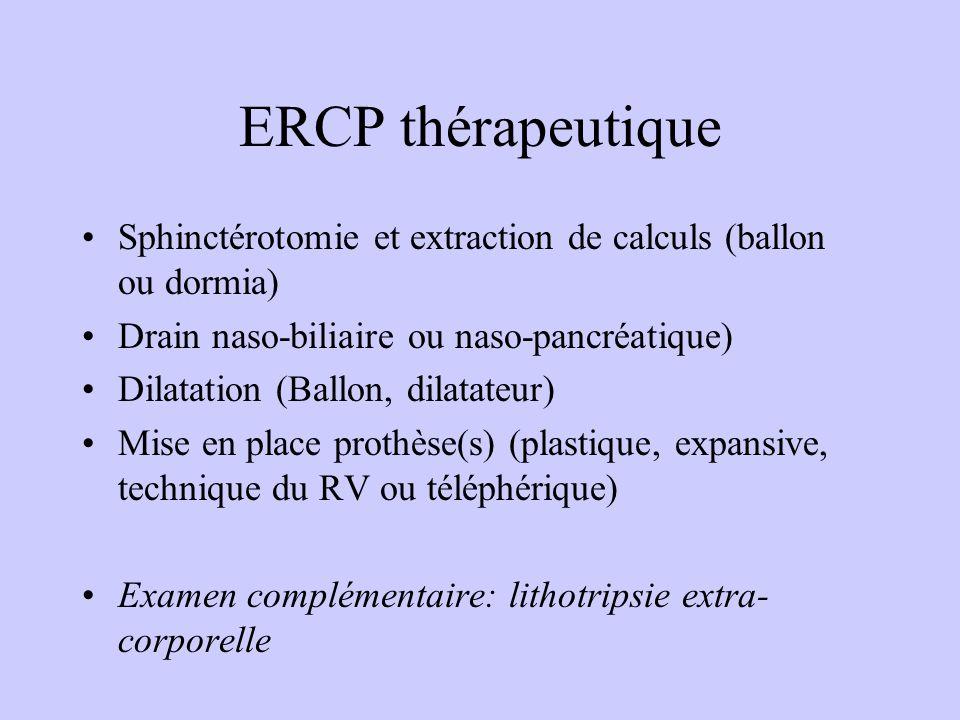 ERCP thérapeutique Sphinctérotomie et extraction de calculs (ballon ou dormia) Drain naso-biliaire ou naso-pancréatique) Dilatation (Ballon, dilatateur) Mise en place prothèse(s) (plastique, expansive, technique du RV ou téléphérique) Examen complémentaire: lithotripsie extra- corporelle